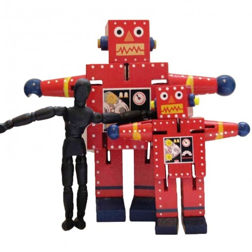 articulated wood robot toy