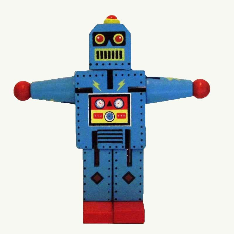 Robot Small Blue Wood