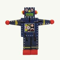 Robot Small Navy Wood