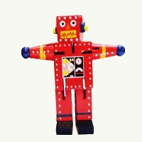 Robot Small Red Wood