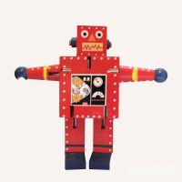Large Wood Red Robot