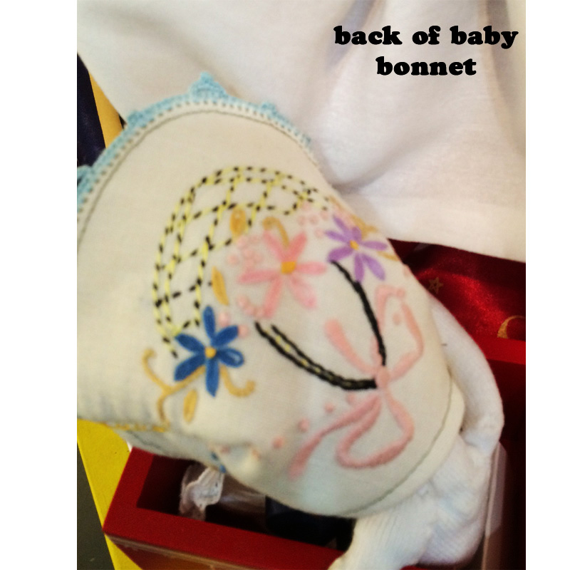 Judy Puppet art by sis back of baby bonnet