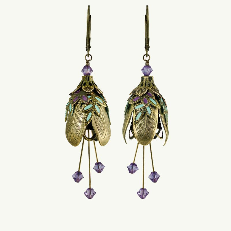 NoMonet Maid Marian Earrings gold purple