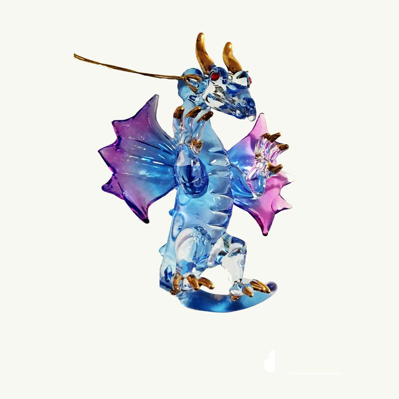 Dragon Mini Blue Glass Ornament
