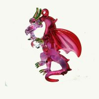 Dragon Mini Pink Glass Ornament