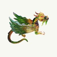 A Green Winged Dragon Glass Ornament