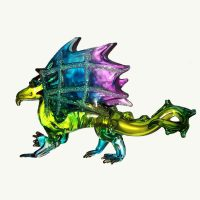 Rainbow Winged Dragon Glass Ornament