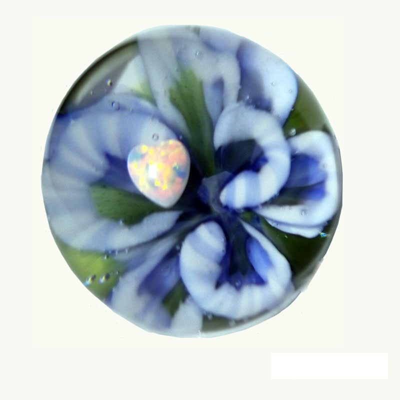 Blue Hydrangea with Heart Opal Marble Art Amy Byrd