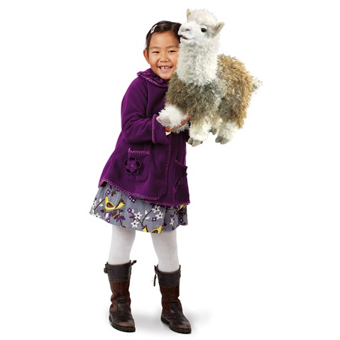 folkmanis alpaca and girl