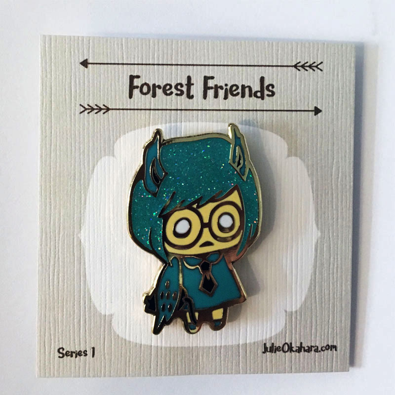 Owl Forest Friends Pin by Julie Okahara
