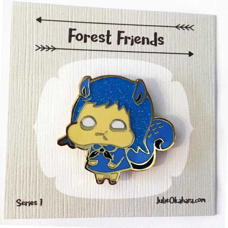 Squirrel Forest Friend Pin by Julie Okahara
