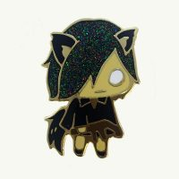 Forest Friend Black Wolf Pin by Julie Okahara
