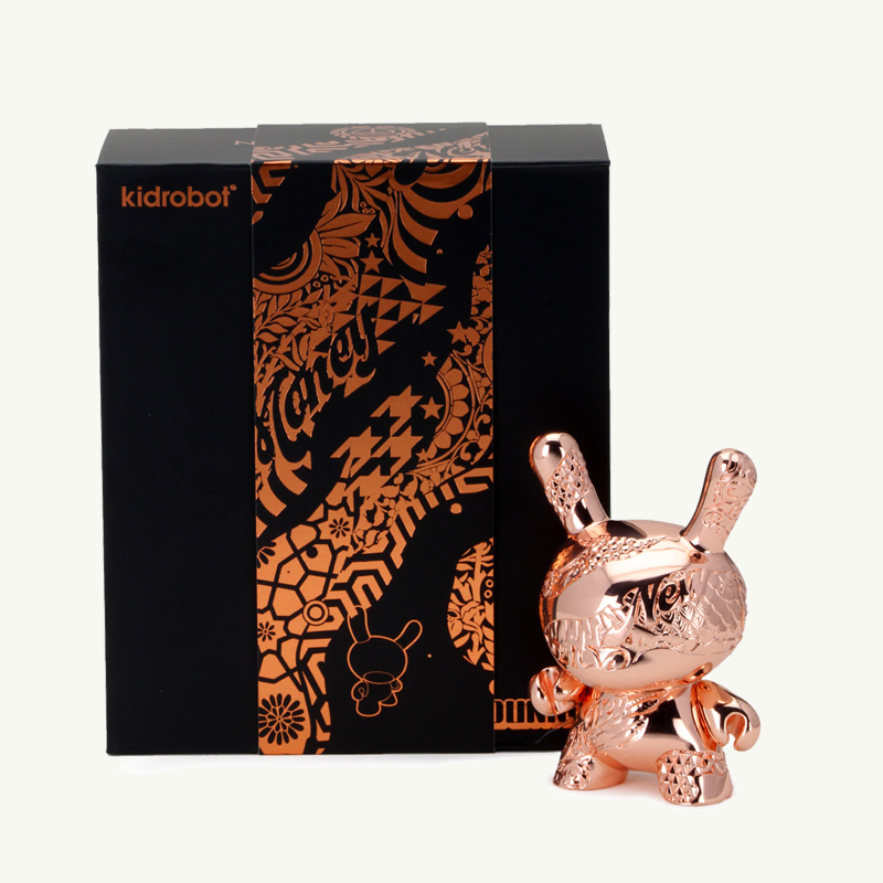 Kidrobot Money Metal Dunny by Tristan Eaton Rose Gold