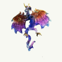 Dragon Winged  Purple Glass Ornament