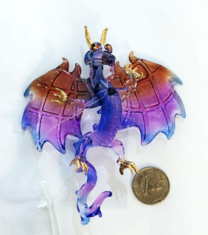 Dragon Winged  Purple Glass Ornament