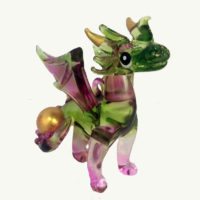 Green Baby Dragon Glass Ornament