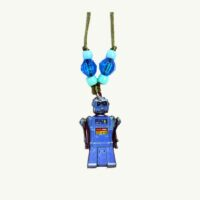 Blue Robot Necklace by Alisa Sadies Moon