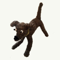 Handcrafted Gray Wool Dog by Mary Rowe