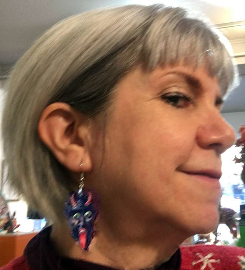 Krampus Earrings on Terri